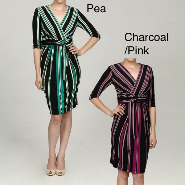 Jessica Simpson Women's 3/4-sleeve Faux Wrap Dress