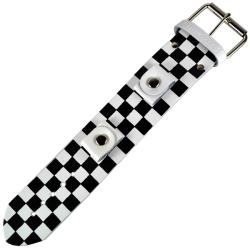 Nemesis Checkered White Leather Watch Band - Thumbnail 2