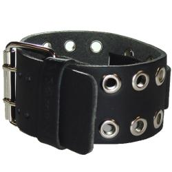Nemesis EB Eyelet Black Leather Watch Band - Thumbnail 1