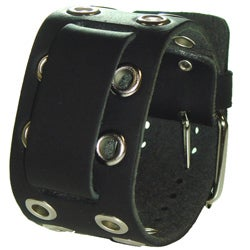 Nemesis EB Eyelet Black Leather Watch Band