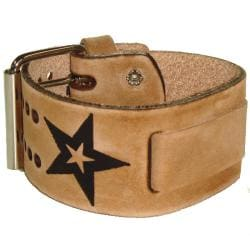 Nemesis Italian Faded Star Brown Leather Wide-cuff Watch Band