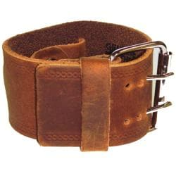 Nemesis Medium Embossed Strip Brown Watch Band - Thumbnail 1