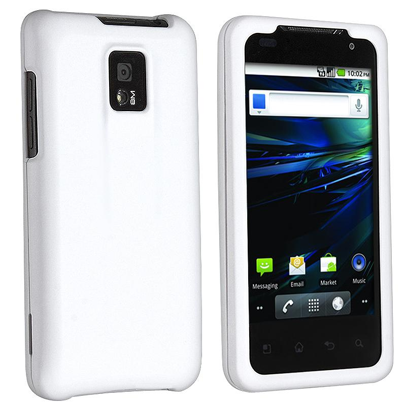 White Snap-on Rubber Coated Case for LG G2X