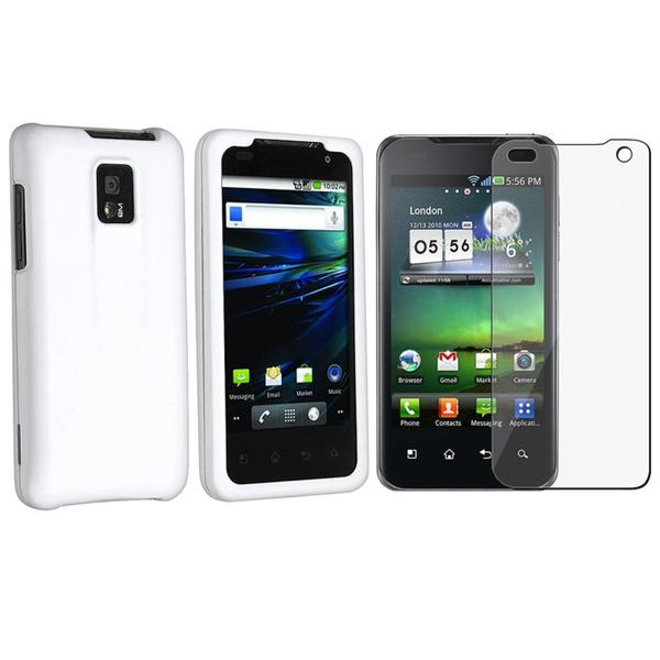 White Case/ Screen Protector for LG G2X