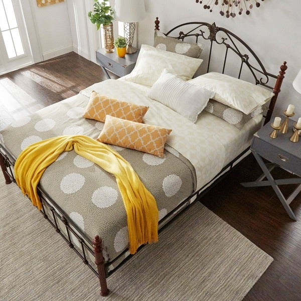 Newcastle Graceful Scroll Bronze Iron Queen-sized Poster Bed by TRIBECCA HOME