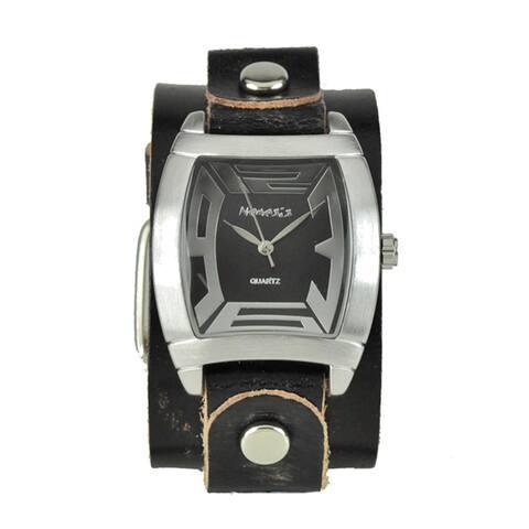 Nemesis Men's Rugged Black Leather Cuff Watch