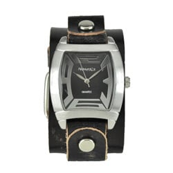Nemesis Men's Rugged Black Leather Cuff Watch