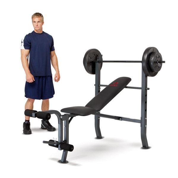 Marcy 80 Pound Weight Set Workout Bench Free Shipping