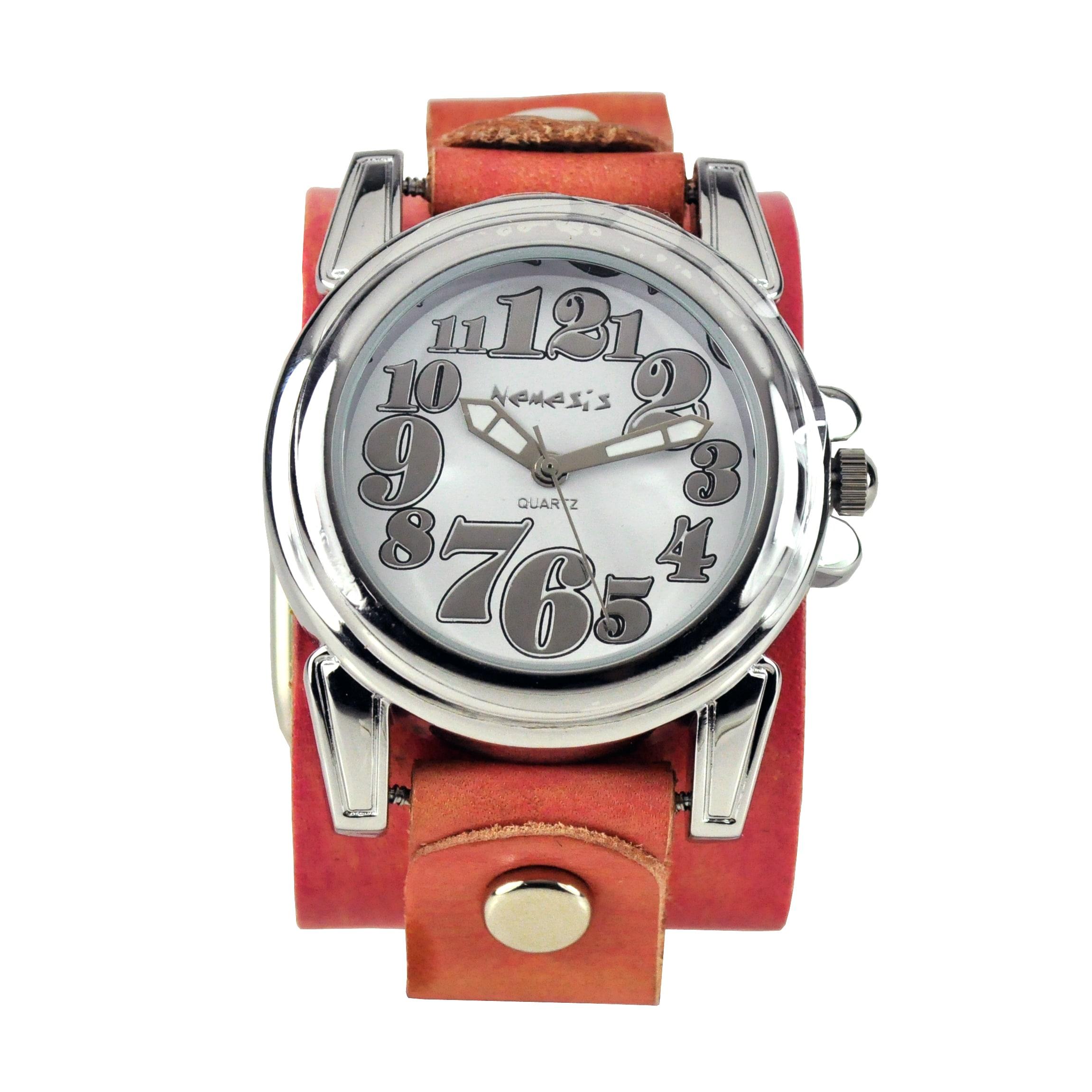 Nemesis Women's Trendy Oversized Pink Leather Watch