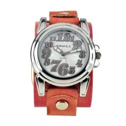 Nemesis Women's Trendy Oversized Pink Leather Watch
