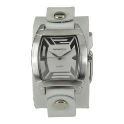 Nemesis Women's Rugged White Leather Cuff Watch