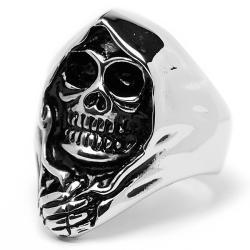 Oliveti Stainless Steel Cast Hooded Skull Ring