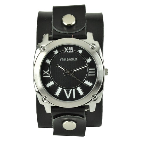 Nemesis Women's Roman Numerals Black Leather Cuff Watch