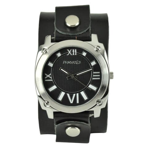 Nemesis Women's Roman Numerals Black Leather Cuff Watch