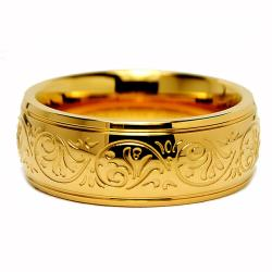 Oliveti Goldplated Stainless Steel Engraved Florentine Band - Thumbnail 1