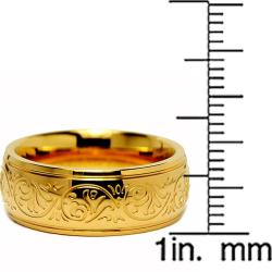 Oliveti Goldplated Stainless Steel Engraved Florentine Band - Thumbnail 2