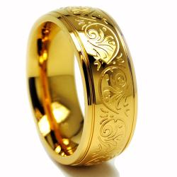 Oliveti Goldplated Stainless Steel Engraved Florentine Band
