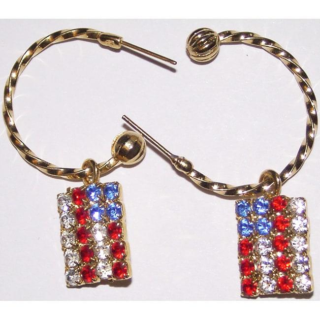 Detti Originals Goldtone American Flag Charm Hoop Earrings