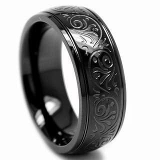 Oliveti Black-plated Stainless Steel Engraved Florentine Band|https://ak1.ostkcdn.com/images/products/6056125/P13732041.jpg?impolicy=medium