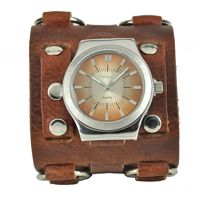 Nemesis Men's Wide Sunrise Leather Cuff Watch - Thumbnail 0