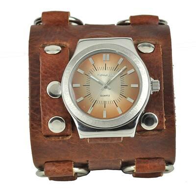 Wide Sunrise Leather Cuff Watch