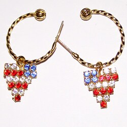 Detti Originals Goldtone Heart Flag Charm Hoop Earrings