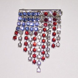 Detti Originals Silvertone Red/ White/ Blue Crystal Hanging Flag Pin