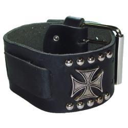 Nemesis Metal Iron Cross Black Leather Watch Band