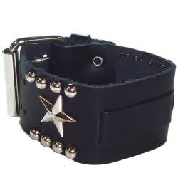 Nemesis Metal Star Black Leather Band