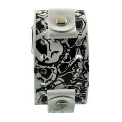Nemesis Multi Skulls White Leather Band