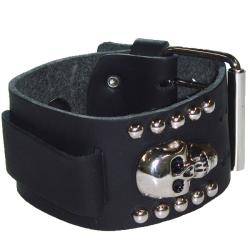 Nemesis Metal Skull Black Leather Watch Band