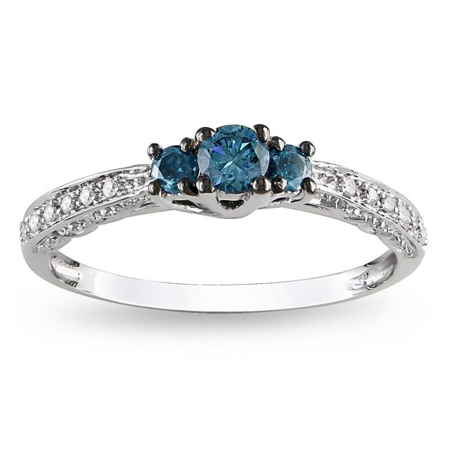 Miadora 10k Gold 1/4ct TDW Blue and White Diamond Ring - Thumbnail 0