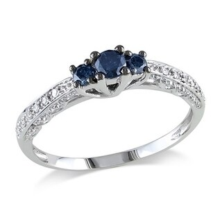 Miadora 10k Gold 1/4ct TDW Blue and White Diamond Ring