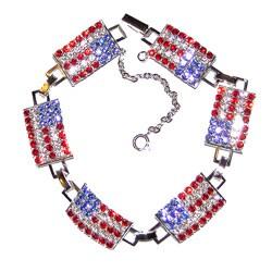 Detti Originals Silvertone American Flag Crystal Bracelet