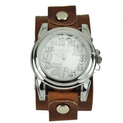 Nemesis Women's Trendy Oversized Brown Leather Watch - Thumbnail 0