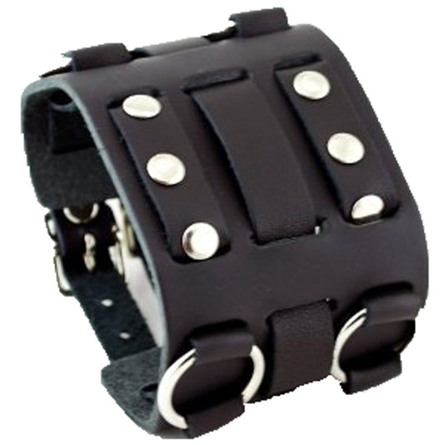 Nemesis WB Wide Detailed Black Leather Band