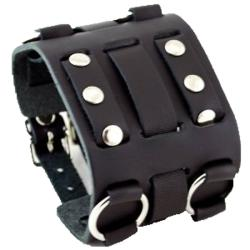 Nemesis WB Wide Detailed Black Leather Band - Thumbnail 0