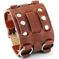 Nemesis WB Wide Detailed Brown Leather Band