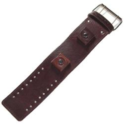 Nemesis XL Stitch 1.75-inch Contemporary Brown Leather Watch Band - Thumbnail 2