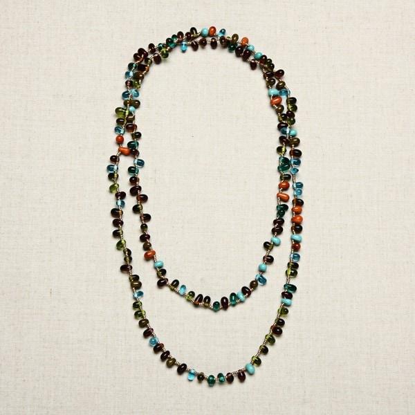 Glass Multicolored Tear Drops Necklace (India)