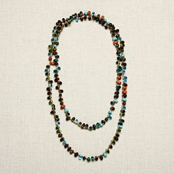 Handmade Glass Multicolored Tear Drops Necklace (India)