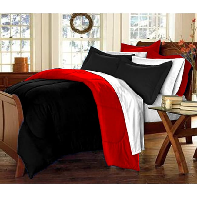 Shop Black Red 10 Piece Twin Xl Size Dorm Room In A Box