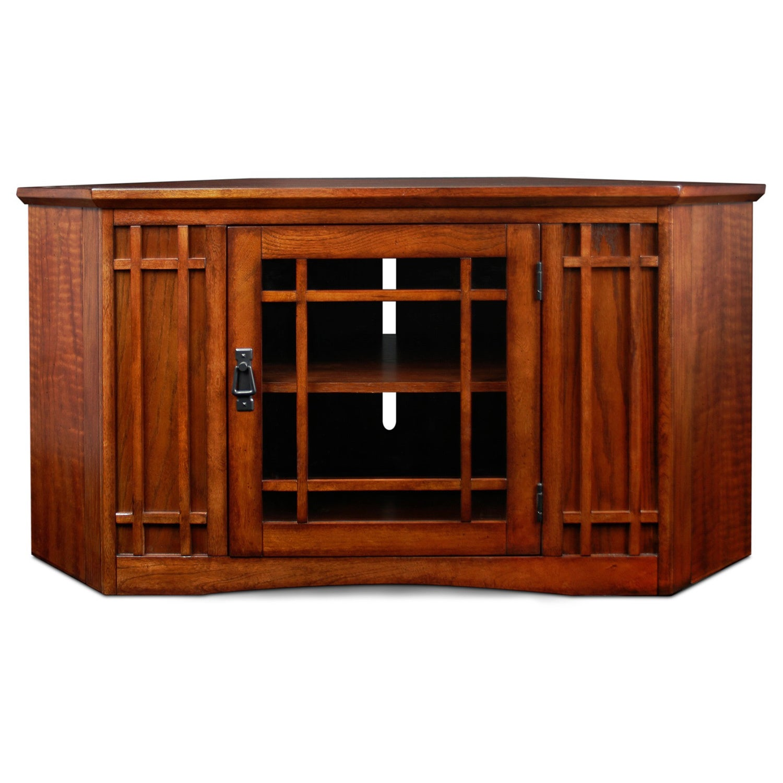 KD Furnishings Mission Oak 46-inch Corner TV Stand & Medi...