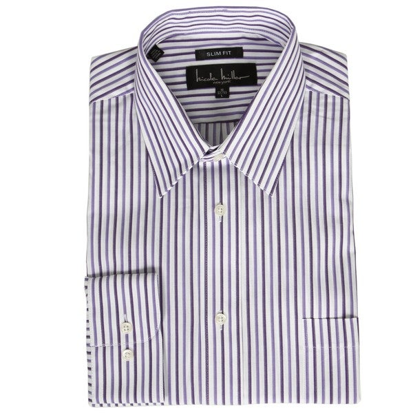 b535377d Shop Nicole Miller Men's Striped Slim Fit Dress Shirt - Free ...