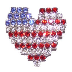 Detti Originals Silvertone Red/ White/ Blue Crystal Heart Flag Pin
