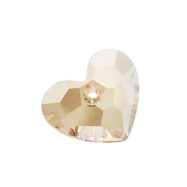 Beadaholique Crystal Gold Shadow 18mm Truly Love Heart Pendant