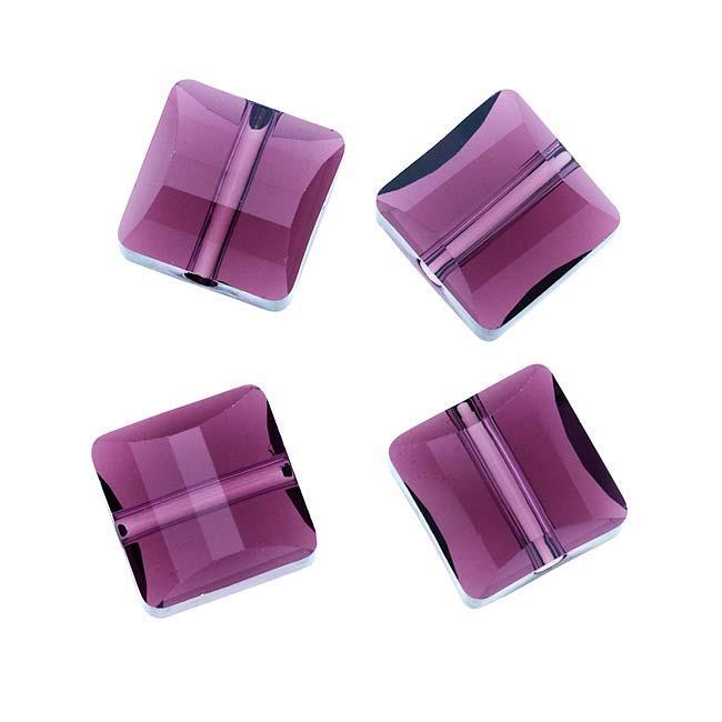 Beadaholique Amethyst 10mm Crystal Stairway (Square) Bead