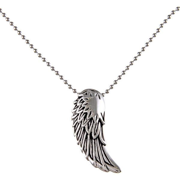 3d06e40728a1c Shop Stainless Steel Men's Angel Wing Pendant - On Sale - Free ...