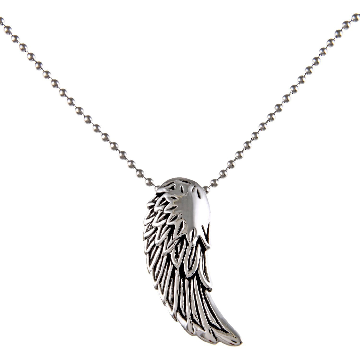 Stainless Steel Men's Angel Wing Pendant (24 inch necklac...