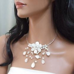 Pearl and MOP Pearl Flower Ray Choker Wrap Necklace (5-7 mm) (Thailand) - Thumbnail 2